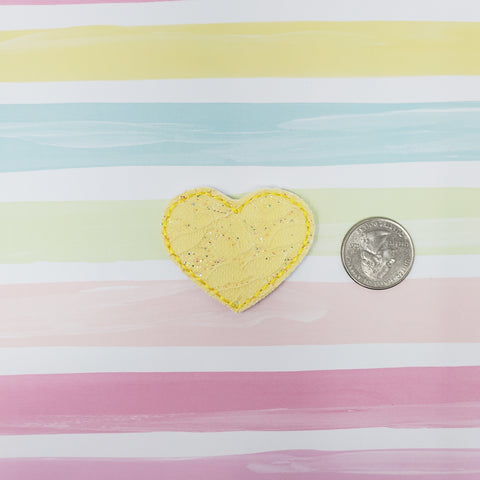 Yellow Lace Heart Feltie 1.87in