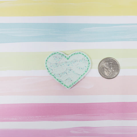Mint Lace Heart Feltie 1.87in