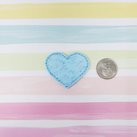 Blue Lace Heart Feltie 1.87in
