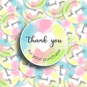 Thank You For Your Purchase Pastel Stickers