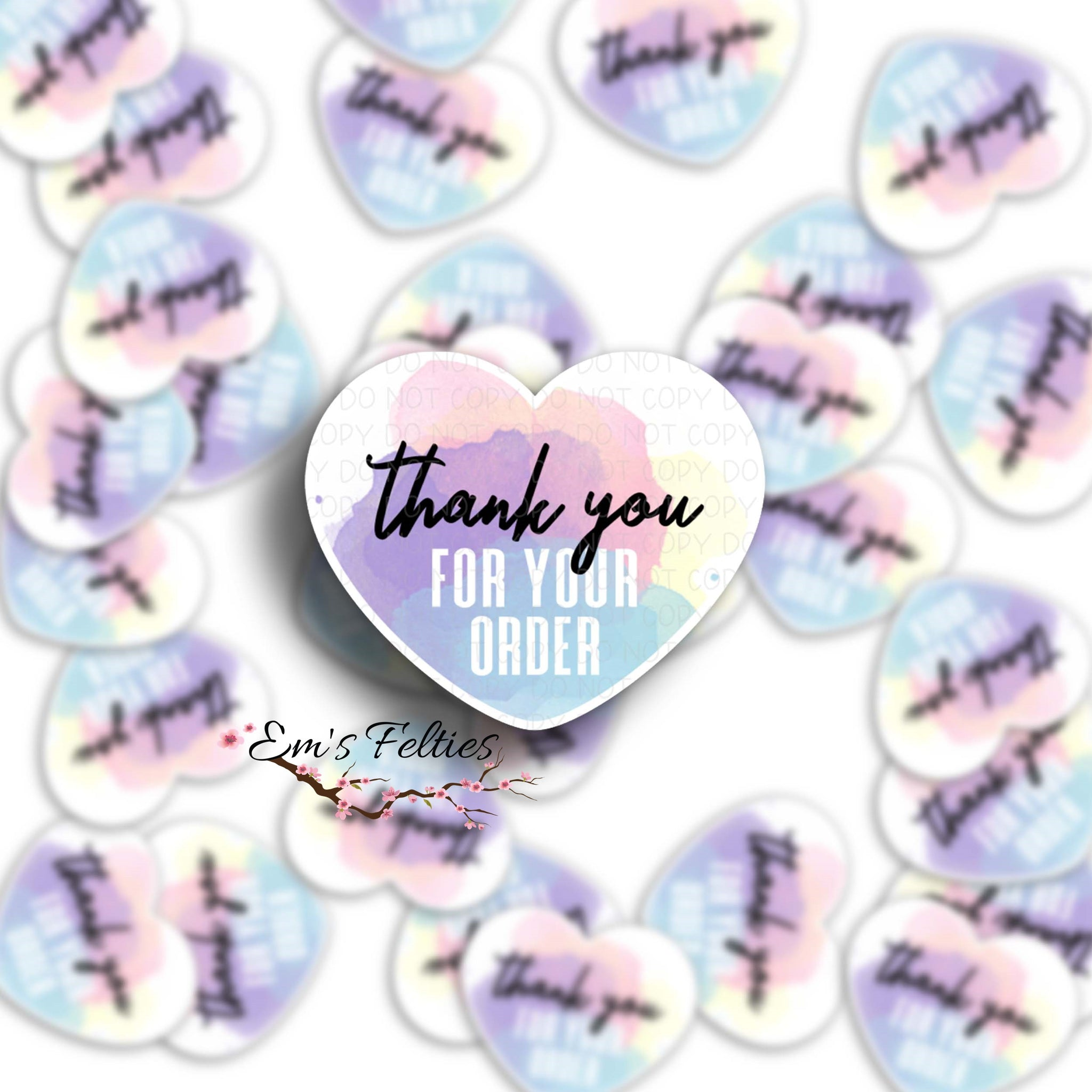 Thank You Pastel Heart Stickers