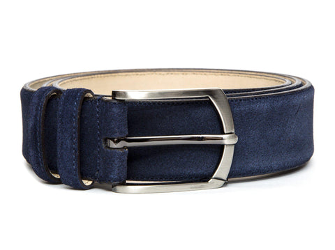 J.FitzPatrick Footwear - Suede Belt - Dark Blue