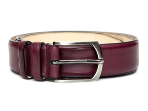 J.FitzPatrick Footwear - Leather Belt - Burgundy Calf