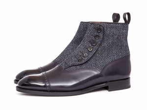 J.FitzPatrick Footwear - Carkeek ll - Midnight Calf / Blue Tweed - PRE ORDER