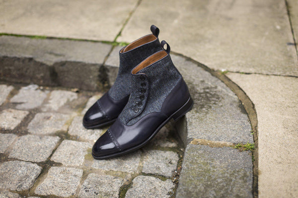 J.FitzPatrick Footwear - Carkeek ll - Midnight Calf / Blue Tweed
