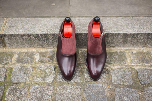 J.FitzPatrick Footwear - Madrona - Plum Museum Calf / Burgundy Suede - Clearance
