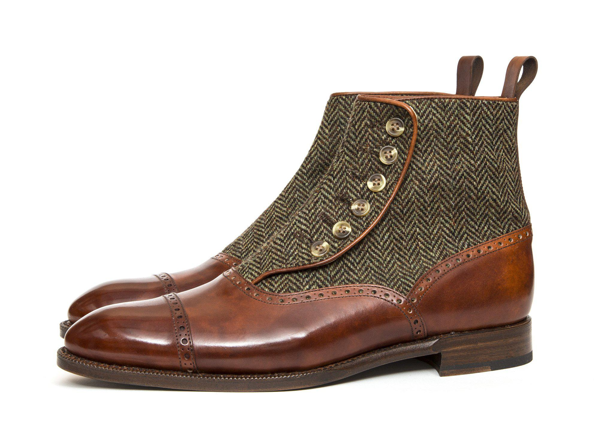 J.FitzPatrick Footwear - Puyallup - Gold Museum Calf / Forest Tweed - PRE ORDER