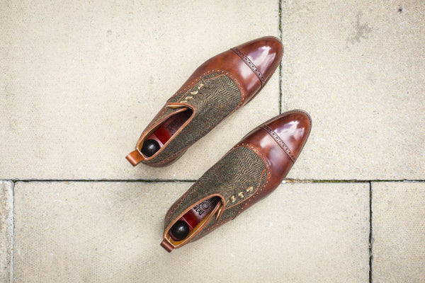 J.FitzPatrick Footwear - Puyallup - Gold Museum Calf / Forest Tweed