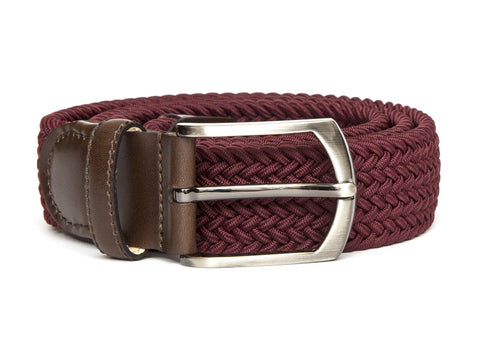 J.FitzPatrick Footwear - Braided Belt - Burgundy/Dark Brown Calf