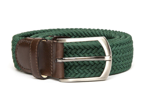 Braided Belt - Green/Dark Brown Calf