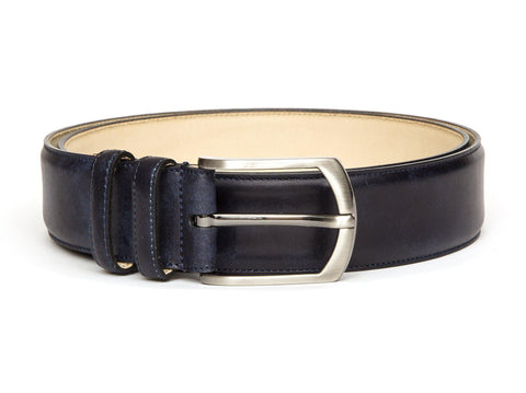 J.FitzPatrick Footwear - Leather Belt - Navy Museum Calf