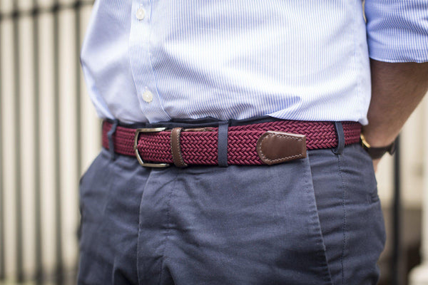 J.FitzPatrick Footwear - Braided Belt - Burgundy / Dark Brown Calf