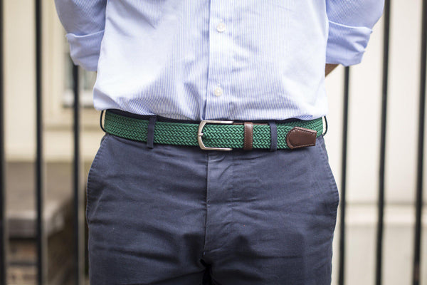 J.FitzPatrick Footwear - Braided Belt - Green / Dark Brown Calf