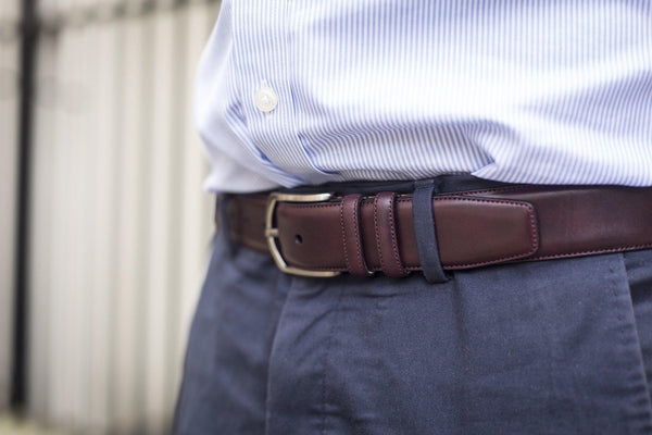 J.FitzPatrick Footwear - Leather Belt - Plum Museum Calf