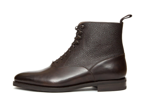 J.FitzPatrick Footwear - Wedgwood - Dark Brown Museum / Scotch Grain - TMG Last - City Rubber Sole