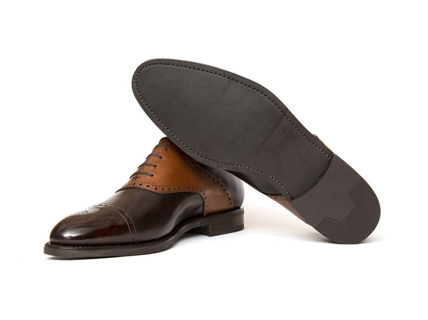 J.FitzPatrick Footwear - Burien - Dark Brown Museum Calf / Tan Soft Grain - TMG Last - City Rubber Sole