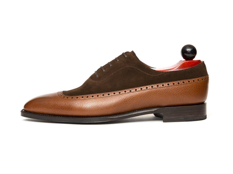 J.FitzPatrick Footwear - Sebastien - Tan Soft Grain / Dark Brown Suede - LPB Last