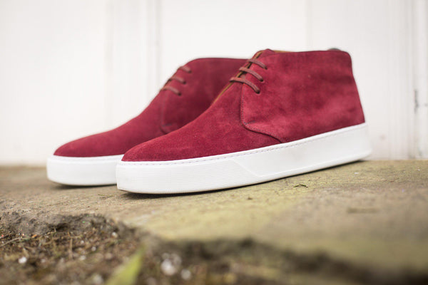 J.FitzPatrick Footwear - Anacortes - Burgundy Suede / White Rubber Sole - CLEARANCE