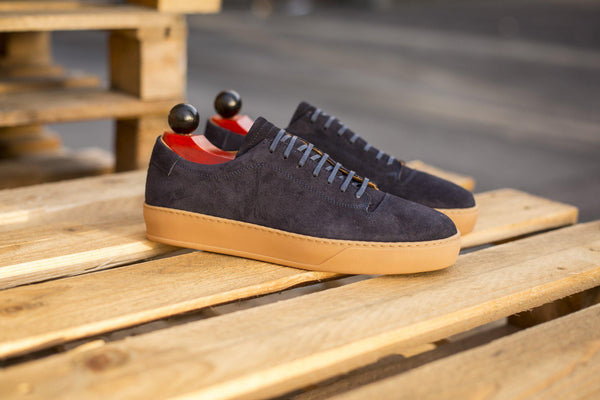 J.FitzPatrick Footwear - Olympia - Navy Suede / Gum Rubber Sole