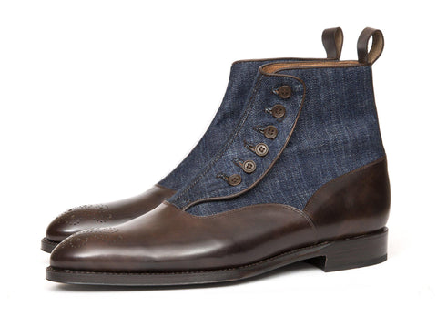 J.FitzPatrick Footwear - Westlake - Dark Brown Museum Calf / Denim - Clearance
