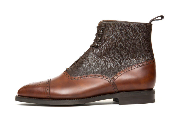 J.FitzPatrick Footwear - David - Gold Museum Calf / Dark Brown Scotch Grain - LPB Last - City Rubber Sole