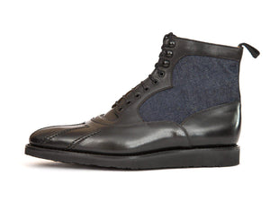 J.FitzPatrick Footwear - Mercer - Black Chromexcel / Denim - TMG Last - Rubber X-Lite Sole