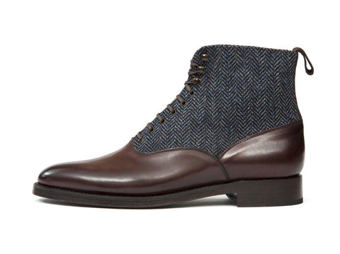 J.FitzPatrick Footwear - Wedgwood - Shaded Merlot Calf / Blue Tweed - TMG Last - Double Leather Sole