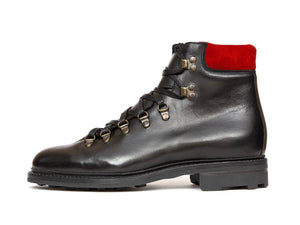 J.FitzPatrick Footwear - Snoqualmie - Black Chromexcel / Red Suede - NJF Last - Rugged Rubber Sole
