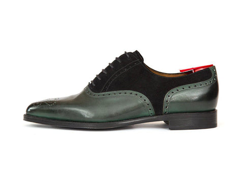 J.FitzPatrick Footwear - Wallingford - Shaded Green Calf / Black Suede - JKF Last