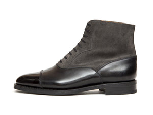 J.FitzPatrick Footwear - Meadowbrook - Black Calf / Mid Grey Suede