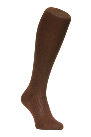 J.FitzPatrick Footwear - Egyptian Cotton Lisle Knee-High Socks - Chocolate Brown