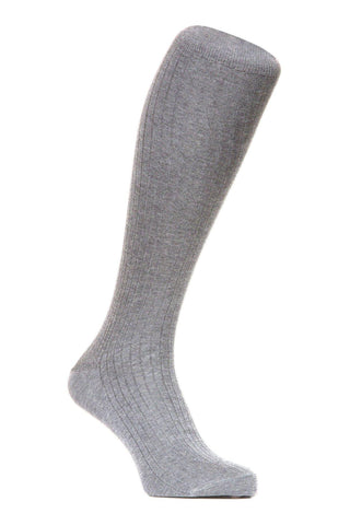 J.FitzPatrick Footwear - Egyptian Cotton Lisle Knee-High Socks - Light Grey