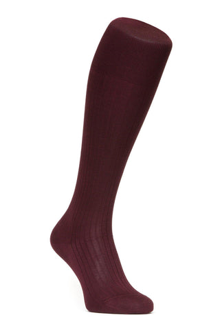 J.FitzPatrick Footwear - Egyptian Cotton Lisle Knee-High Socks - Burgundy