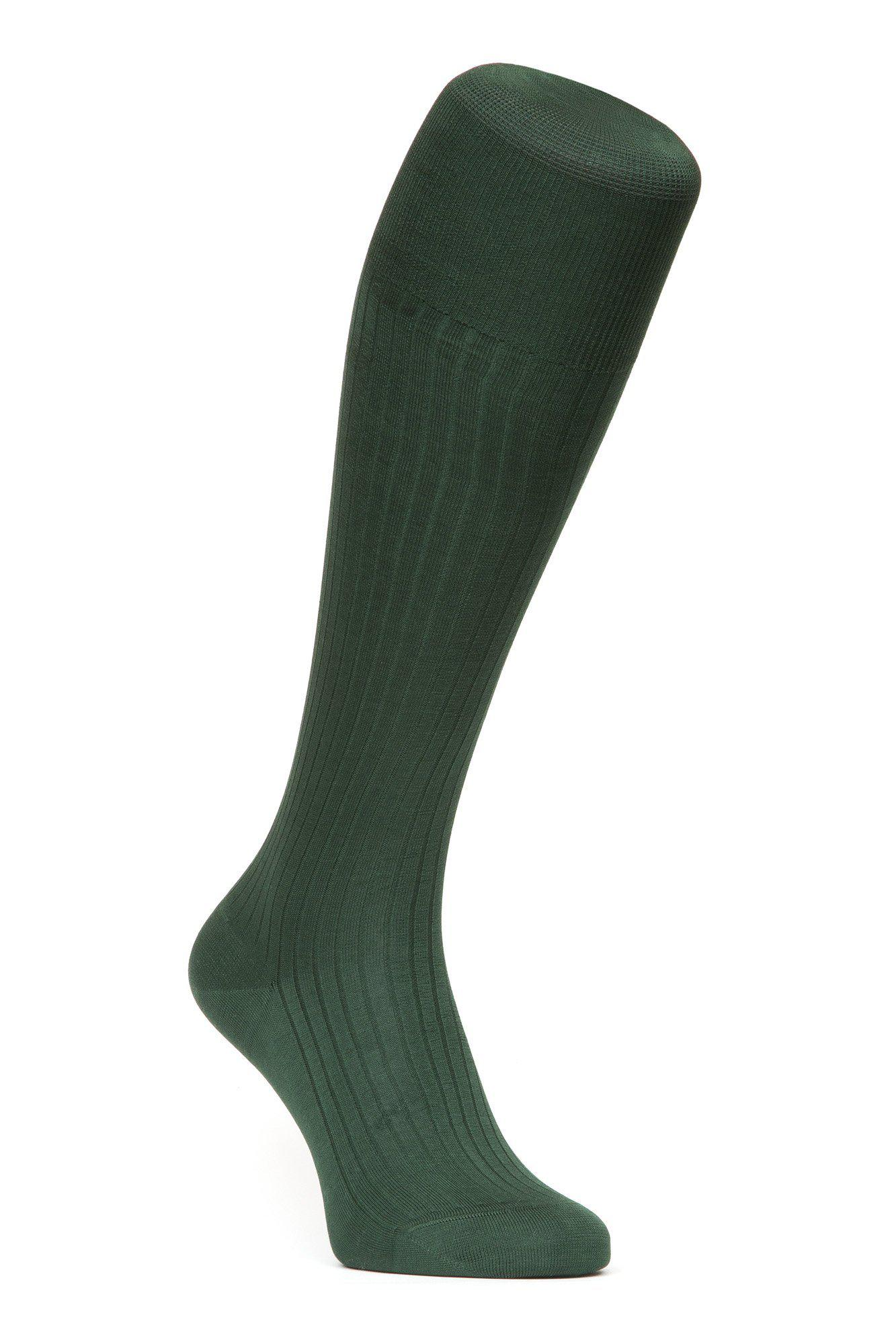 J.FitzPatrick Footwear - Egyptian Cotton Lisle Knee-High Socks - Dark Green