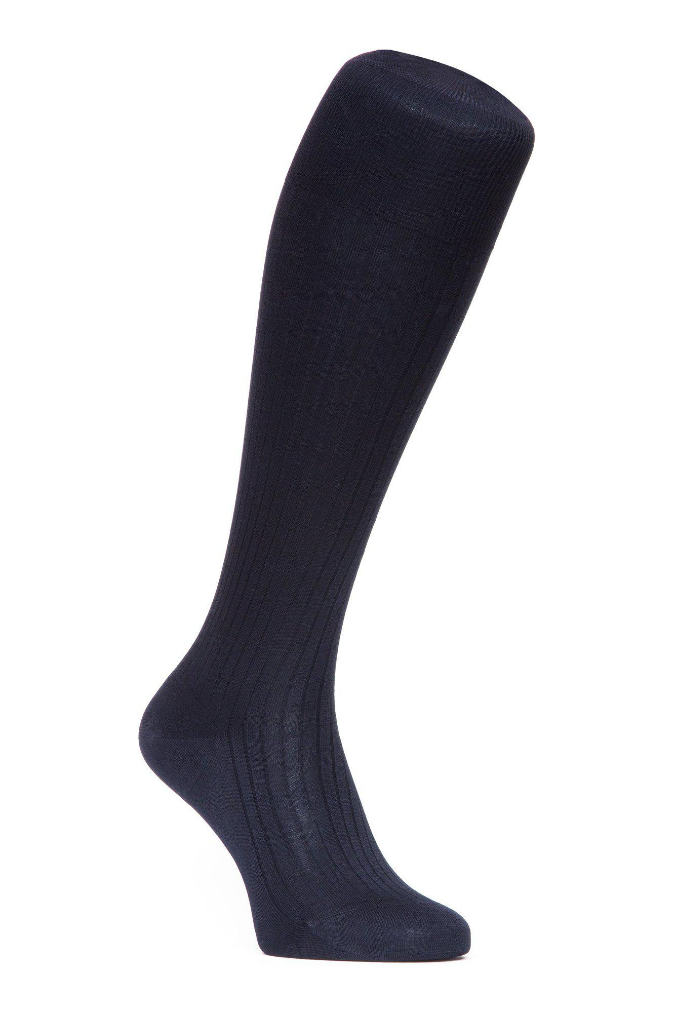 J.FitzPatrick Footwear - Egyptian Cotton Lisle Knee-High Socks - Navy