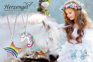 HERZENGEL CHILDREN'S JEWELLERY AUSTRALIA | STERLING SILVER | KID'S JEWELLERY | NECKLACES | EARRINGS | BRACELETS | UNICORN | BALLERINA | FLAMINGO | BUNNY | ANGEL