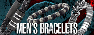 Men's Bracelets | Men's Jewellery | Leather Bracelets For Men | Stainless Steel | Sterling Silver | Dragon Design | Snake Design | Cuff Bracelet | Chain Bracelet | Bead Bracelet