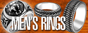 Men's Rings | Men's Jewellery Range | Stainless Steel | Sterling Silver | Tyre Tread Ring | Wedding Bands | Titanium Rings | Tungsten Rings | Big Size Range