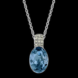 LOLA AND GRACE BLUE OVAL CRYSTAL SOLITAIRE PENDANT NECKLACE