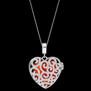 KAGI SILVER SPLENDOUR HEART NECKLACE - FRONT RED STONE