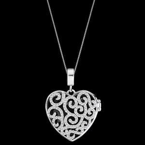 KAGI SILVER SPLENDOUR HEART NECKLACE - FRONT BLACK STONE