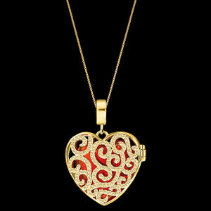 KAGI GOLD SPLENDOUR LOCKET HEART NECKLACE - RED STONE FRONT