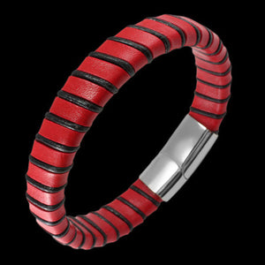 STAINLESS STEEL RED LEATHER BOUND BRACELET