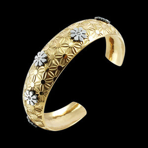 STAINLESS STEEL GOLD IP FLORAL CUFF BRACELET