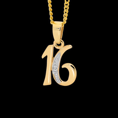 9 KARAT GOLD DIAMOND 16 NECKLACE