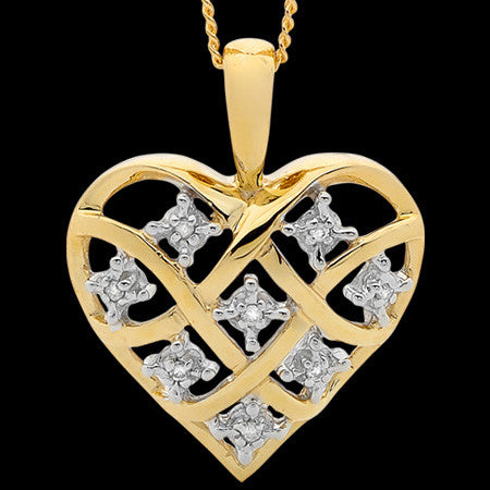 9 KARAT GOLD DIAMOND DREAMWEAVER HEART NECKLACE