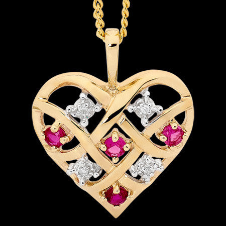 9 KARAT GOLD RUBY & DIAMOND DREAMWEAVER HEART NECKLACE