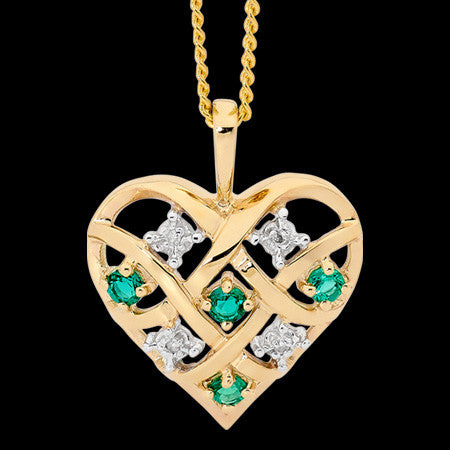 9 KARAT GOLD DIAMOND & EMERALD DREAMWEAVER HEART NECKLACE