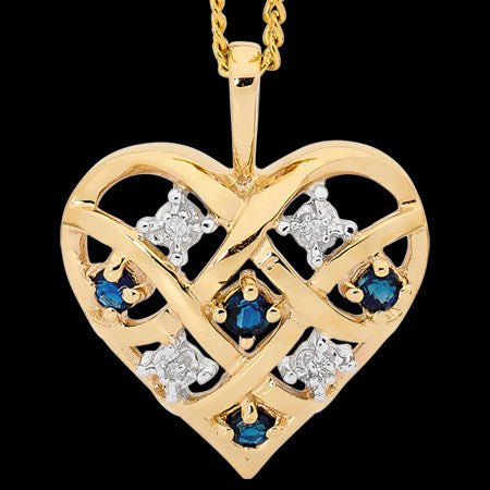 9 KARAT GOLD DIAMOND & SAPPHIRE DREAMWEAVER HEART NECKLACE