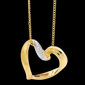 9 KARAT GOLD DIAMOND SLIDING HEART NECKLACE